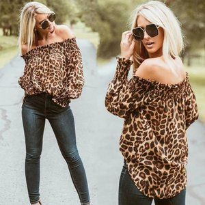 Tops - New! Animal Print Off The Shoulder Blouse
